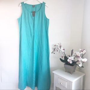 JJILL Size Large Maxi 100% Linen Dress Turquoise
